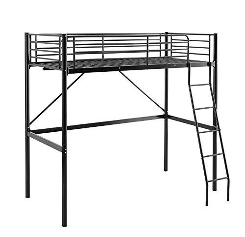 MUEBLIX | Literas Juveniles 90x190 | Cama Alta Individual | Estructura de Metal | Literas Juveniles Baratas con Escalera | Ideal para Loft para Escritorio Debajo | Modelo Pedro