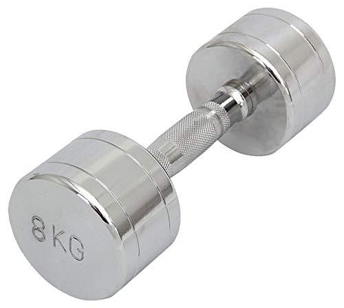POWRX - 1 x Mancuerna cromada 8 kg – ideal para intensificar la FUERZA muscular -
