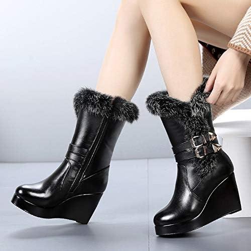 HOESCZS Chaussures Femmes Hiver Semelles Compensées en Coton dans Les Bottes