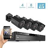 Amcrest 4MP Security Camera System, w/ 4K 8CH PoE NVR, (4) x 4-Megapixel 3.6mm Wide Angle Lens Weatherproof Metal Bullet POE IP Cameras, NV4108E-HS-IP4M-1026EB4 (Black)