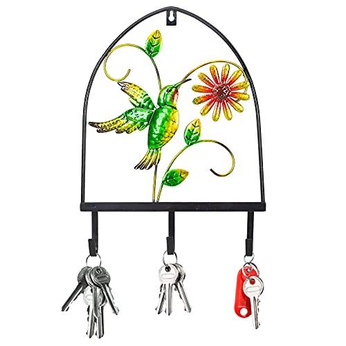 Metal Wall Decor with Hooks Garden Art (14.9' 11.4') Flower Bird Outdoor Yard Decoration Hanging Key Towel Bag Hat Hanger Holder Hummingbird
