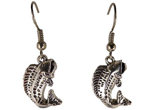 Ohrringe Ohrhänger Hänger silberfarben Fisch Channa Schlangenkopffisch Asien Aquarium 8650