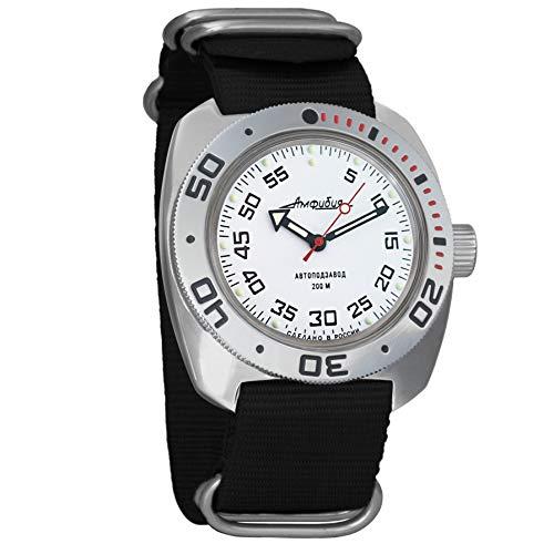 Vostok Militar ruso Diver para hombre de anfibios Amphibia Reloj de pulsera Negro Nailon # 71825