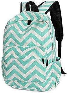 Students School Bag Canvas Backpack Wavy Stripes Design Girl Fashion Rucksack