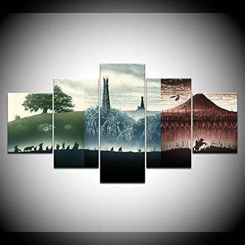 CHANGJIU-Cuadro En Lienzo 5 Piezas Pintura- Póster Modular De La Película El Señor De Los Anillos -HD Moderno Fotos Material Te Jido No Tejido Arte Pared Decoración Hogareña Impresión