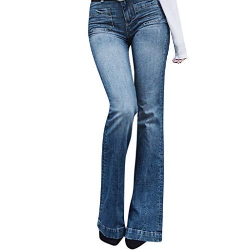 Xmiral Denim Hosen Damen Tasche Gewaschene Farbe Flare Jeans Slim Fit Boot-Cut-Hosenjeans Hohe Taille Büro Hosen(Blau,3XL)
