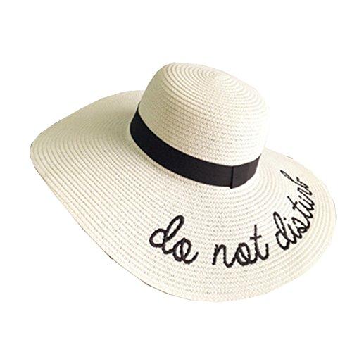 Sombrero Gorro De Paja Playa Pamela Panama Deporte Al Aire Libre Sombrero De Paja del Sol Sombrero para Mujer Leche Blanca