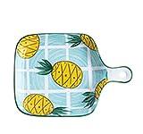 AIIOW Bandeja para Hornear para lasaña, Sopa, Fideos Esmalte de cerámica para Hornear Plato Plato Rectangular para Hornear Platos con Mango para Hornear Pan para Hornear. (Color : C)