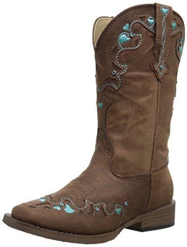 Roper Hearts Square Toe Cowgirl Boot (Toddler/Little Kid), Brown, 2 M US Little Kid