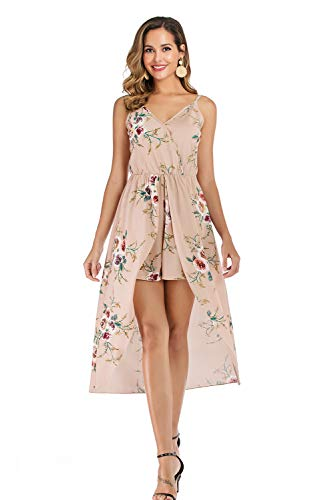 Womens Sleeveless Scoop Neck Floral Rayon Party Split Maxi Romper Dress (Small, 8 Apricot)