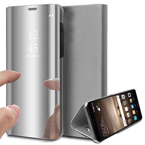 Suhctup Kompatibel Samsung Galaxy S8+/S8 Plus Hülle Spiegel Cover Clear View Crystal Case Schutzhülle Mirror handyhülle handyhuelle etui huelle Flip metallic Frau schal mit Tasche