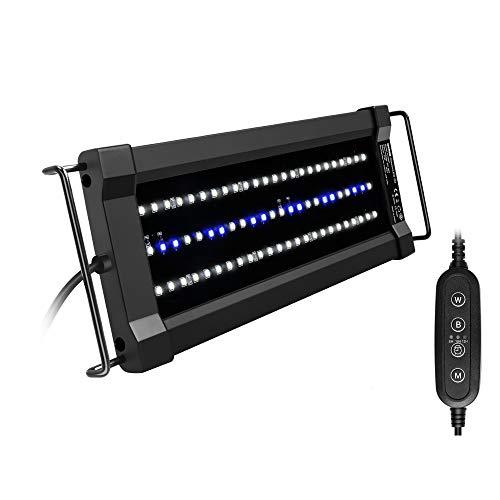 NICREW ClassicLED G2 Éclairage Aquarium, Rampe LED Étanche avec 2 Canaux Contrôleur, Lumières Blanches et Bleues, Lampe LED Aquarium 30-43 cm, 11 W, 835 LM