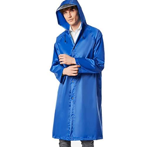 Waterbestendig Regenjas Volwassen vrouwelijke dikke lange windjack buiten wandelen bergbeklimmen tour Wind en regen poncho Mooi (Color : Blue, Size : M)