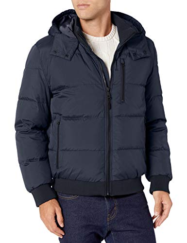 Cole Haan Signature Men's Hooded Bomber Down Jacket, Navy, X-Large