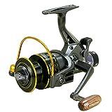 Gugutogo Carrete de Pesca YUMOSHI 10 + 1 rodamientos de Bolas Sistema de Freno Doble Delantero Trasero Bobina de Metal Bobina de Cebo Carrete de Pesca para Pesca al Aire Libre