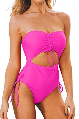 LEISUP Einteiliger Badeanzug mit abnehmbaren Trägern und Aussparung zum Zuziehen. - Pink - X-Large