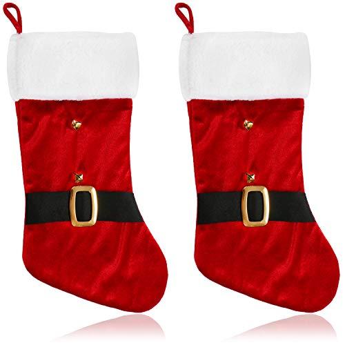 com-four® 2X Premium XXL Nikolausstrumpf zum Befüllen - Weihnachtssocken zum Aufhängen - Nikolausstiefel Samt - Weihnachtsdekoration 46 x 25 cm