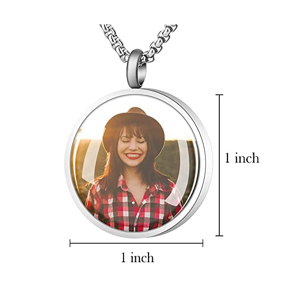 Fanery Sue Personalized Photo Cremation Urn Necklace for Ashes Custom Engraving Pendant Memorial Keepsake Jewelry with Filling Tool(Round- Silver)