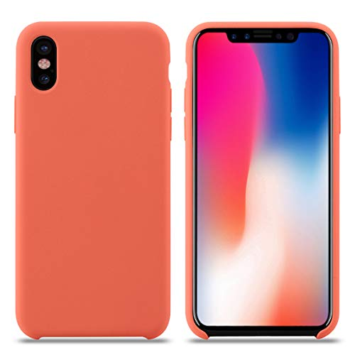 Cover iPhone XS, Custodia Antiurto Gomma Gel Silicone Liquido con Fodera Tessile Microfibra Morbida Custodia Silicone iPhone XS Cover per Apple iPhone XS. (XS 5.8'', Nettarina)