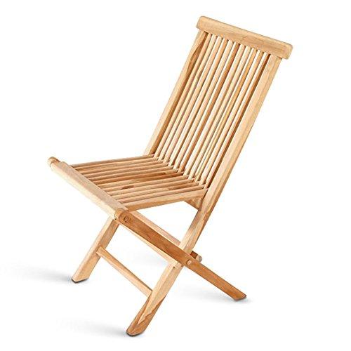 SAM® Teak-Holz Klappstuhl, Garten-Stuhl, zusammenklappbarer Hochlehner aus Massivholz, leicht zu verstauen, ideal für Balkon, Terrasse oder Garten