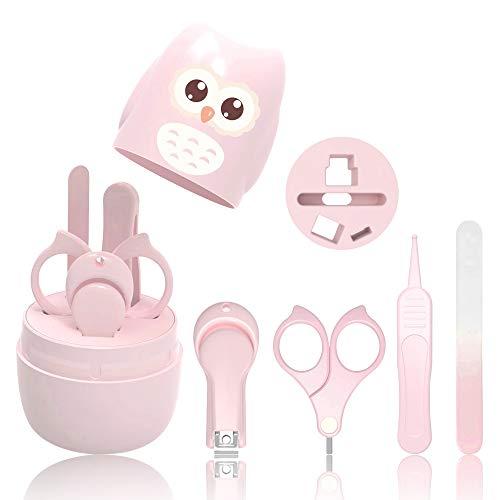 HyAdierTech Juego de cortaúñas para bebé - Juego de pedicura para bebé - Kit de aseo para bebé - Juego de cuidado para guardería con tijera de seguridad + Lima para uñas + Pinzas (rosado)