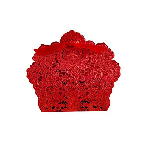 50pcs Cajas Cajitas Papel de Caramelos Bombones Dulces Galletas Regalos Recuerdos Detalles para Invitados de Boda Fiesta Bautizo Cumpleaños (Rojo)