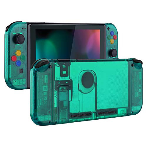 eXtremeRate Back Plate for Nintendo Switch Console, NS Joycon Handheld Controller Housing with Colorful Buttons, DIY Replacement Shell for Nintendo Switch - Emerald Green
