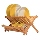 Bambusi Collapsible Dish Drying Rack - Bamboo Kitchen Folding Dish Rack & Plate Holder - Compact & Foldable Dish Drainer
