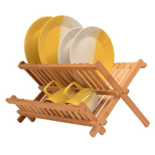 Bambusi Collapsible Dish Drying Rack - Bamboo Kitchen Folding Dish Rack & Plate Holder | Compact & Foldable Dish Drainer