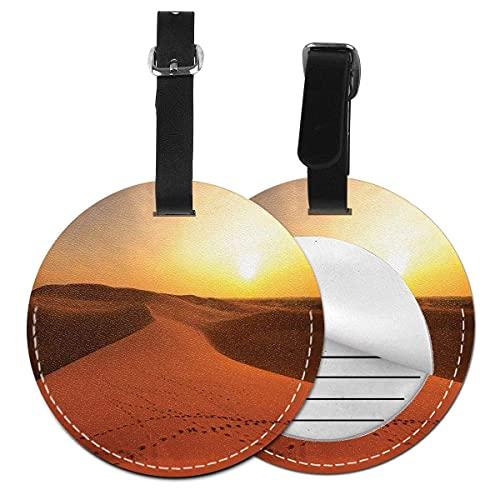 Etiquetas para equipaje Footprints On Sand Dunes at Sunrise Hot Dubai Landscape Travel Destino,Etiqueta de equipaje de cuero Etiqueta de privacidad (1 pieza)