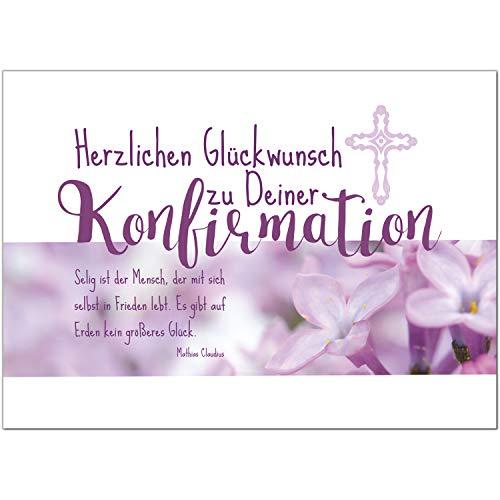 Glückwunschkarte Konfirmation mit Umschlag/Für Mädchen Rosa - Lila/Konfirmationskarten/Karte für Glückwünsche/Feier