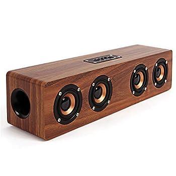 SEVIZ Four Retro Wireless Bluetooth Speaker 40W Stereo Sound Bluetooth 5.0 with 4 Hours Playback Portable Speaker for Home for Outdoor for Travel FM Radio 10m Wireless Range Wooden Speaker