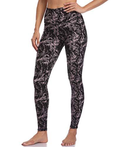 Colorfulkoala Women's High Waisted Pattern Leggings Full-Length Yoga Pants (S, Mauve & Black Strokes)