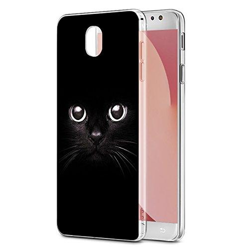 Funda Samsung Galaxy J7 2017, Eouine Cárcasa Silicona 3d Transparente con Dibujos Diseño Suave Gel TPU [Antigolpes] de Protector Bumper Case Cover Fundas para Movil Samsung Galaxy J7 2017 (Gato negro)