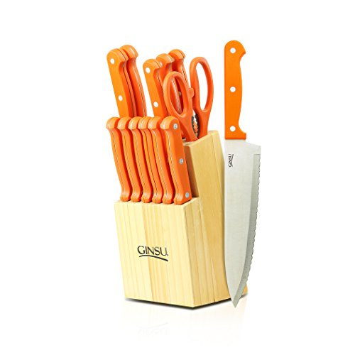 Ginsu Essential Series 14-Piece Stainless Steel Serrated Knife Set – Cutlery Set with Orange Kitchen Knives in a Natural Block, 03872OSDS