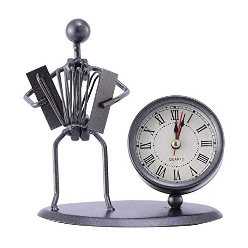IADZ Reloj Despertador, 1 Pieza, Reloj de Mesa, Arte de Hierro, Modelo de acordeón Retro, Reloj de Escritorio Artesanal, Reloj de Hombre de Hierro, Reloj Despertador de Metal
