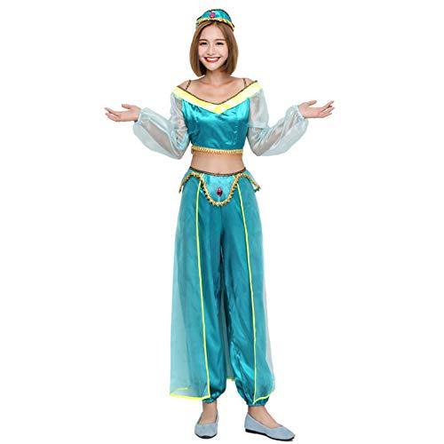 CAQQ Disfraz de Bailarina del Vientre de Jasmine Genie (Mujer: Azul)