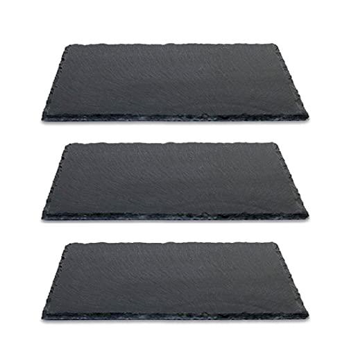 3 Unidades 20 x 13 cms, Bandeja Platos Fuentes Pizarra Negra Natural con Cantos Acabado Rústico, Protecciones Antideslizantes en la Base, Bajoplatos, Aptas para Uso Alimentario