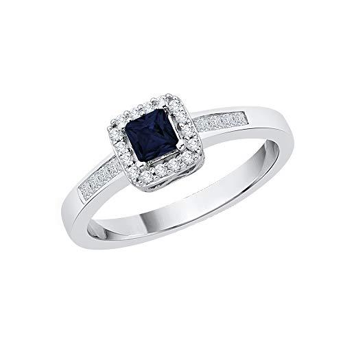 KATARINA Anillo de compromiso de diamantes y zafiros de talla princesa en oro de 14 k (1/2 quilates, J-K, SI2-I1)