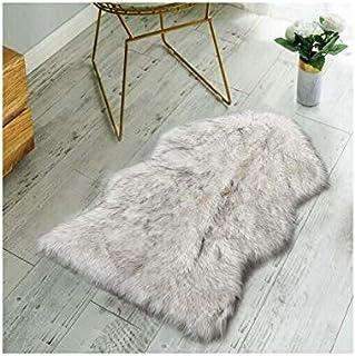 Non Skid Backing Faux Fur Sheepskin Rug-Deluxe Soft Faux Sheepskin Chair Cover, Seat Cushion Pad Plush Fur Area Rugs for B...