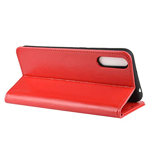DAMAIJIA für Wiko View4 Lite Hüllen Klapphülle PU Leder Silikon Wallet Schutzhülle Schutz Mobiltelefon Flip Back Cover für Wiko View 4 Lite Tasche Handy Zubehör (red)