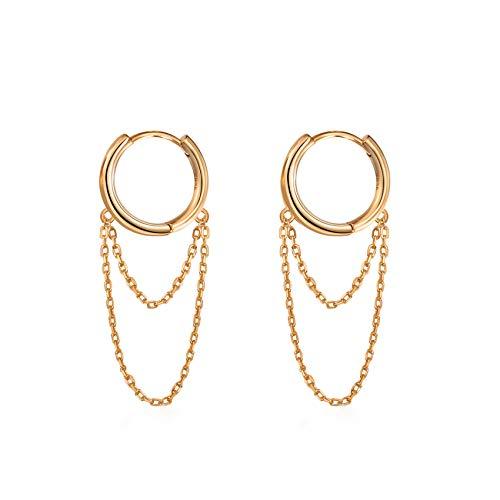 Pendientes de cadena de borla para mujeres y niñas, aretes de aro colgantes Huggie minimalistas de plata de ley 925 chapados en oro para mujer