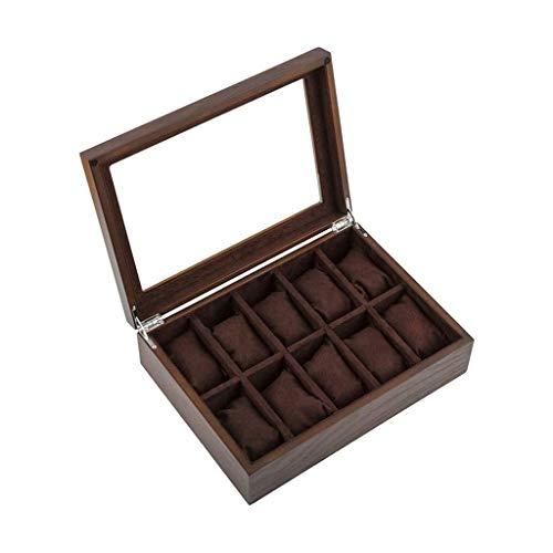 Caja de reloj de madera para pulsera y pulsera de joyería, caja de almacenamiento para mujer y hombre (color: B)