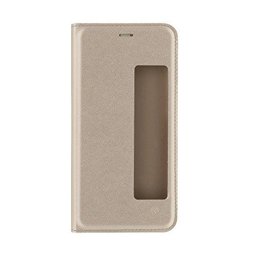 TELLUR TLL185101 Funda Inteligente con Ventana para Huawei P10, Oro