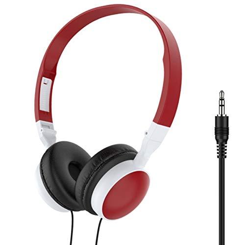 Auriculares para juegos Crossear Estudio Auriculares con cable plegable 3.5mm HiFi Audio Bass Headset Gaming Auriculares para teléfono/Tablet - Rojo