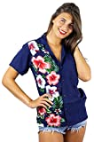 V.H.O. Funky Hawaiian Blouse Shirt, Shortsleeve, VHO-Wedding, Blue, S
