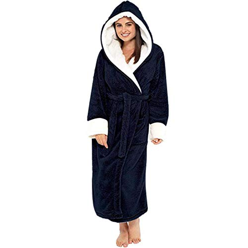 Pyjama Damen Nachthemd Schlafanzug Bademantel Frauen Winter Plüsch Verlängerten Schal Bademantel Home Kleidung Langarm Robe Mantel L Blau