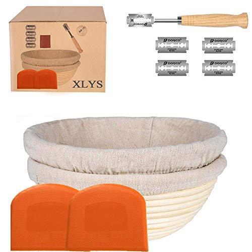 Juego de 2 cestas a prueba de banneton, perfecto para masa de origen, incluye raspador de masa, 2 paños de lino lavables y 1 hoja extra