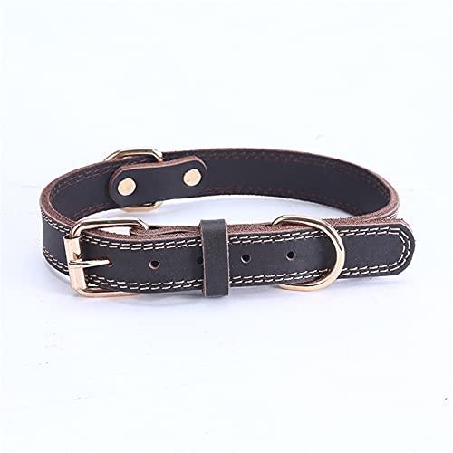 ZZCR Collar De Perro Mascota Collar De Perro Mediano Grande Collar De Cuero Correa De Perro Collar De Entrenamiento Al Aire Libre para Pasear Al Perro Marrón S