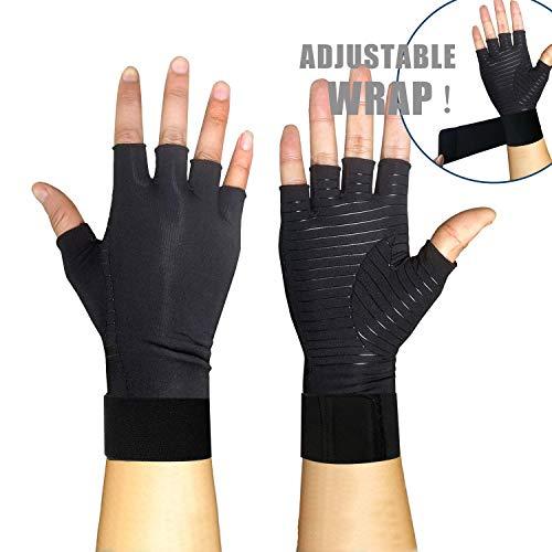 Copper Compression Gloves for Women or Men - 1 Pair - Fingerless Arthritis Hand Relief Gloves (L)…